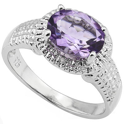 LOVELY 1.75 CT AMETHYST WITH DOUBLE DIAMONDS 0.925 STERLING SILVER W/ PLATINUM RING