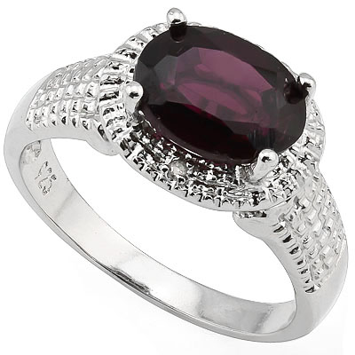GORGEOUS 2.27 CARAT GARNET WITH DOUBLE GENUINE DIAMONDS PLATINUM OVER 0.925 STERLING SILVER RING