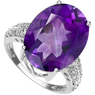 ASTONISHING 4.84 CT PURPLE AMETHYST DOUBLE WHITE DIAMOND 0.925 STERLING SILVER W/ PLATINUM RING