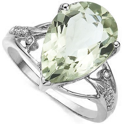 MONSTER 4.90 CT GREEN AMETHYST DOUBLE WHITE DIAMOND 0.925 STERLING SILVER W/ PLATINUM RING