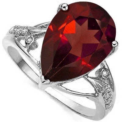 RARE DARK RED 5.87 CT GARNET & DOUBLE WHITE DIAMOND 0.925 STERLING SILVER W/ PLATINUM RING