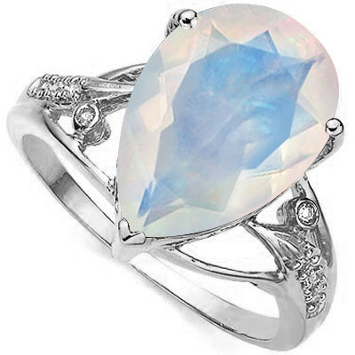 LOVELY 4.22 CT CREATED FIRE OPAL WITH DOUBLE GENUINE DIAMONDS PLATINUM OVER 0.925 STERLING SILVER RING