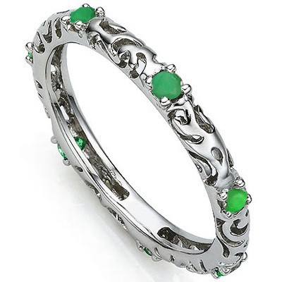 PRECIOUS 0.26 CT GENUINE EMERALD 0.925 STERLING SILVER W/ PLATINUM RING