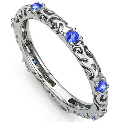 SPECTACULAR 0.26 CT GENUINE TANZANITE 0.925 STERLING SILVER W/ PLATINUM RING