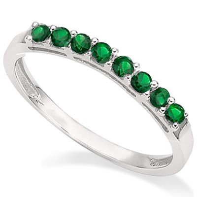 WONDERFUL 0.34 CT GENUINE EMERALD 0.925 STERLING SILVER W/ PLATINUM RING