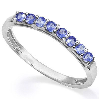 SPECIAL CLOSEOUT!! SPARKLING 8 PCS GENUINE TANZANITE 0.925 STERLING SILVER W/ PLATINUM BAND RING