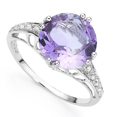 BRILLIANT 3.30 CT AMETHYST WITH DOUBLE DIAMONDS 0.925 STERLING SILVER W/ PLATINUM RING