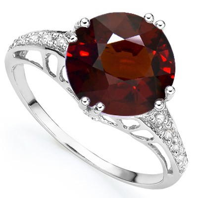 EXCEPTIONAL 3.79 CT RED GARNET DOUBLE WHITE DIAMOND 0.925 STERLING SILVER W/ PLATINUM RING