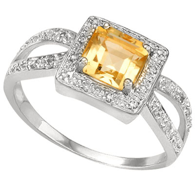 CLASSIC 0.67 CARAT TW CITRINE WITH DOUBLE GENUINE DIAMONDS PLATINUM OVER 0.925 STERLING SILVER RING
