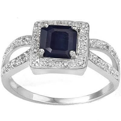 REFRESHING MIDNIGHT BLUE SAPPHIRE DOUBLE WHITE DIAMOND 0.925 STERLING SILVER W/ PLATINUM RING