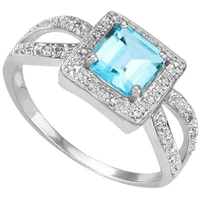 REFRESHING SKY BLUE TOPAZ DOUBLE WHITE DIAMOND 0.925 STERLING SILVER W/ PLATINUM RING