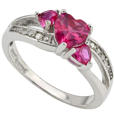 ELEGANT 0.50 CT CREATED AFRICAN RUBY & 2 PCS CREATED AFRICAN RUBY 0.925 STERLING SILVER W/ PLATINUM RING
