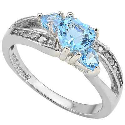 ASTONISHING 0.50 CT BLUE TOPAZ & 2 PCS BLUE TOPAZ 0.925 STERLING SILVER W/ PLATINUM RING