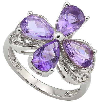 LOVELY 3.24 CT AMETHYST & 2 PCS GENUINE DIAMOND 0.925 STERLING SILVER W/ PLATINUM RING