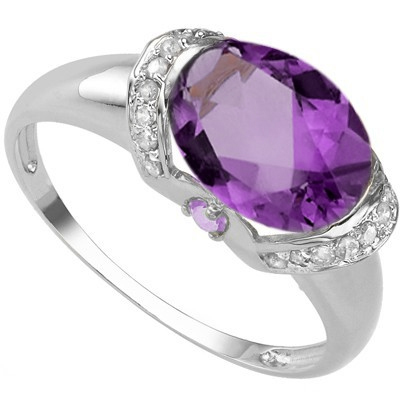 SPECTACULAR 2.09 CARAT AMETHYST WITH DIAMONDS PLATINUM OVER 0.925 STERLING SILVER RING