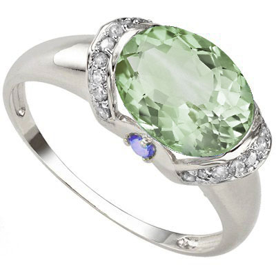 CLASSIC 2.36 CARAT GREEN AMETHYST & GENUINE TANZANITE PLATINUM OVER 0.925 STERLING SILVER RING