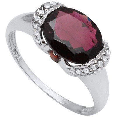 GLAMOROUS 3.13 CARAT GARNET & DOUBLE GENUINE DIAMONDS PLATINUM OVER 0.925 STERLING SILVER RING