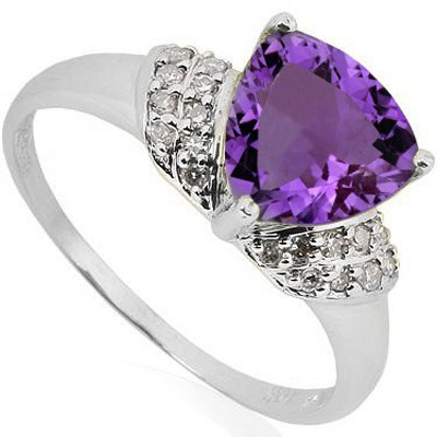 PRETTY 1.57 CT AMETHYST WITH DOUBLE DIAMONDS 0.925 STERLING SILVER W/ PLATINUM RING