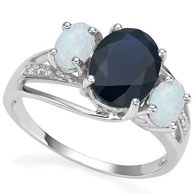 CHARMING 2.28 CT GENUINE SAPPHIRE WITH DOUBLE CREATED FIRE OPAL AND DIAMONDS 0.925 STERLING SILVER W/ PLATINUM RING