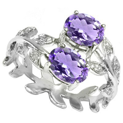 GORGEOUS 1.34 CARAT AMETHYST WITH DOUBLE GENUINE DIAMONDS PLATINUM OVER 0.925 STERLING SILVER RING