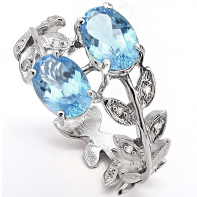 CAPTIVATING 1.93 CARAT BLUE TOPAZ & DOUBLE GENUINE DIAMONDS PLATINUM OVER 0.925 STERLING SILVER RING