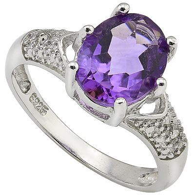 ALLURING 2.28 CT AMETHYST & 2 PCS GENUINE DIAMOND 0.925 STERLING SILVER W/ PLATINUM RING
