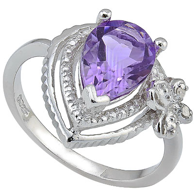 CHARMING 1.72 CT AMETHYST & 2 PCS GENUINE DIAMOND 0.925 STERLING SILVER W/ PLATINUM RING