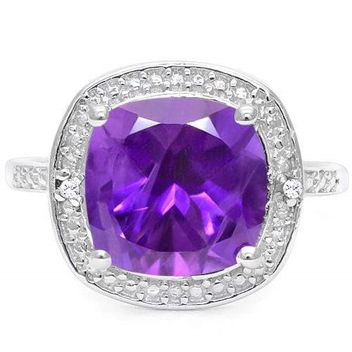 SPECTACULAR 4 CT AMETHYST & DOUBLE WHITE DIAMOND 0.925 STERLING SILVER W/ PLATINUM RING