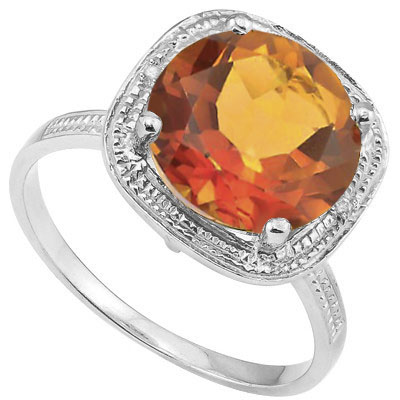 CHARMING 4.08 CT AZOTIC GEMSTONE WITH DOUBLE GENUINE DIAMONDS 0.925 STERLING SILVER W/ PLATINUM RING