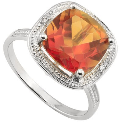 ENTICING 3.83 CT FIRE TOPAZ DOUBLE WHITE DIAMOND 0.925 STERLING SILVER W/ PLATINUM RING