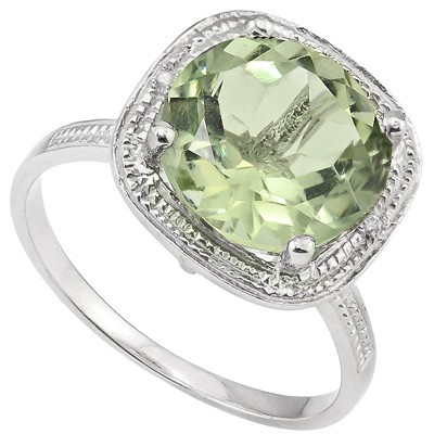 EXCLUSIVE 2 CT GREEN AMETHYST & DOUBLE WHITE DIAMOND 0.925 STERLING SILVER W/ PLATINUM RING