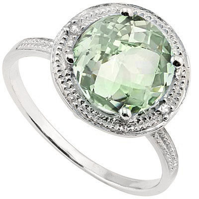 PERFECT 2.31 CT GREEN AMETHYST WITH DOUBLE GENUINE DIAMONDS PLATINUM OVER 0.925 STERLING SILVER RING