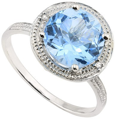 ENTHRALLING 2.09 CT BLUE TOPAZ DOUBLE WHITE DIAMOND 0.925 STERLING SILVER W/ PLATINUM RING