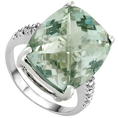 HEAVY 4.67 CT GREEN AMETHYST DOUBLE WHITE DIAMOND 0.925 STERLING SILVER W/ PLATINUM RING