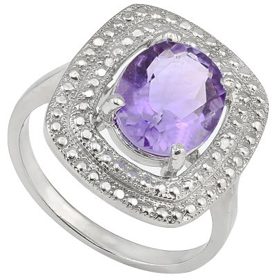 FABULOUS 3 CT AMETHYST & DOUBLE WHITE DIAMOND 0.925 STERLING SILVER W/ PLATINUM RING
