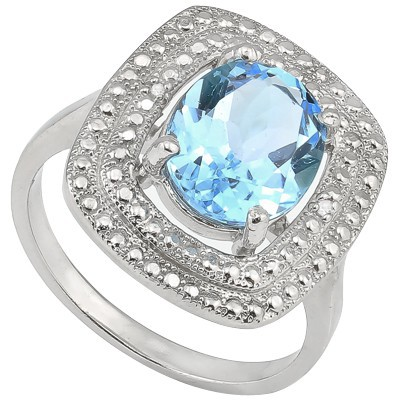 PRICELESS 3 CT BLUE TOPAZ & DOUBLE WHITE DIAMOND 0.925 STERLING SILVER W/ PLATINUM RING
