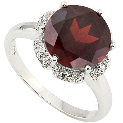 CLASSIC 3.89 CT GARNET & DOUBLE WHITE DIAMOND 0.925 STERLING SILVER W/ PLATINUM RING