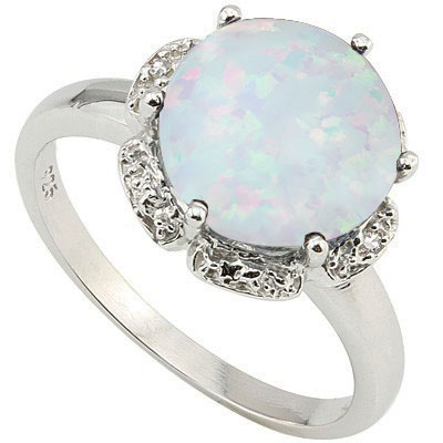 CHARMING 3.11 CARAT TW (3 PCS) CREATED FIRE OPAL & GENUINE DIAMOND PLATINUM OVER 0.925 STERLING SILVER RING