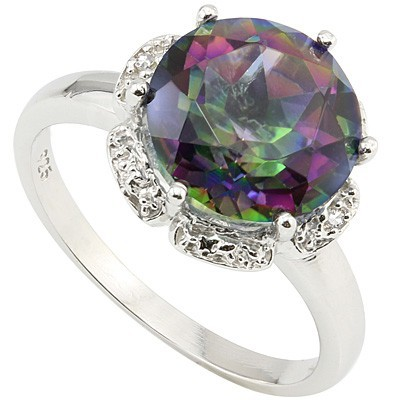 ENCHANTING 3.40 CT MYSTIC TOPAZ DOUBLE WHITE DIAMOND 0.925 STERLING SILVER W/ PLATINUM RING
