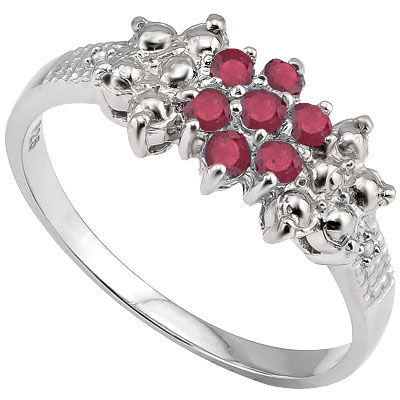 GORGEOUS 0.35 CARAT GENUINE RUBY WITH DOUBEL GENUINE DIAMONDS PLATINUM OVER 0.925 STERLING SILVER RING