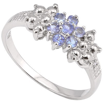 MAGNIFICENT GENUINE TANZANITE & DOUBLE WHITE DIAMOND 0.925 STERLING SILVER W/ PLATINUM RING