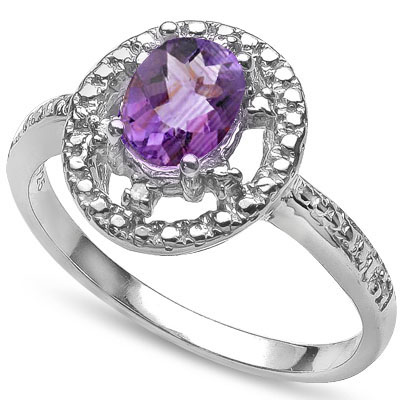 MAGNIFICENT 0.75 CT AMETHYST WITH DOUBLE DIAMONDS 0.925 STERLING SILVER W/ PLATINUM RING