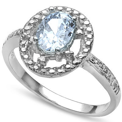 LOVELY 0.657 CARAT AQUAMARINE WITH DOUBLE GENUINE DIAMONDS PLATINUM OVER 0.925 STERLING SILVER RING