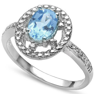 MARVELOUS 1.00 CT BLUE TOPAZ WITH DOUBLE GENUINE DIAMONDS 0.925 STERLING SILVER W/ PLATINUM RING