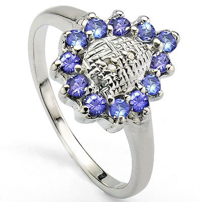 PRECIOUS 0.45 CT GENUINE TANZANITE WITH DOUBLE DIAMONDS 0.925 STERLING SILVER W/ PLATINUM RING