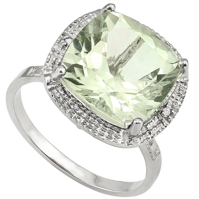EXQUISITE 6.5 CT GREEN AMETHYST & DOUBLE WHITE DIAMOND 0.925 STERLING SILVER W/ PLATINUM RING