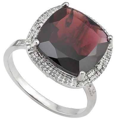 GREAT 6.5 CT GARNET & DOUBLE WHITE DIAMOND 0.925 STERLING SILVER W/ PLATINUM RING
