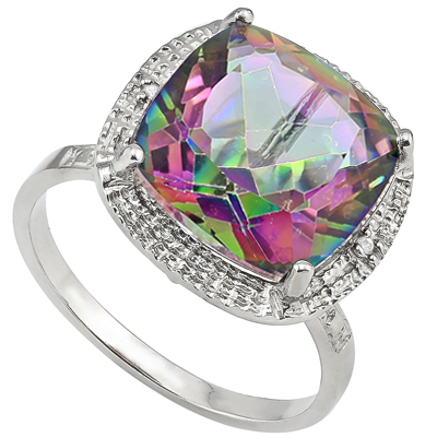 GORGEOUS 6.5 CT MYSTIC GEMSTONE & DOUBLE WHITE DIAMOND 0.925 STERLING SILVER W/ PLATINUM RING