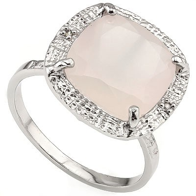 SPARKLING 6.00 CT ROSE QUARTS WITH DOUBLE DIAMONDS 0.925 STERLING SILVER W/ PLATINUM RING