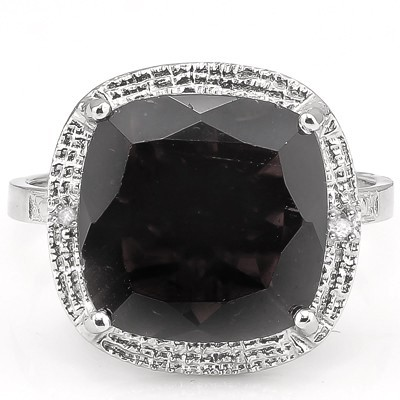 SMASHING 6.85 CT GENUINE BLACK SAPPHIRE WITH DOUBLE DIAMONDS 0.925 STERLING SILVER W/ PLATINUM RING